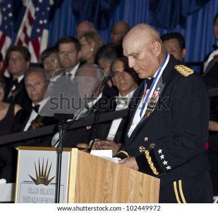 NEW YORK - MAY 12: General Raymond Odierno Chief of Staff US Army speaks at the 2012 Ellis Island Medals of Honor ceremony on Ellis Island on May 12, 2012 in New York