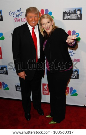 """NEW YORK-MAY 20: Lisa Lampanelli and Donald Trump attend the """"Celebrity Apprentice"""" Live Finale at the American Museum of Natural History on May 20, 2012 in New York City."""