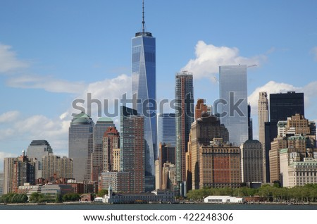 NEW YORK - MAY 15, 2016: Lower Manhattan skyline panorama. Freedom Tower is the tallest building in the Western Hemisphere and the third-tallest building in the world #422248306