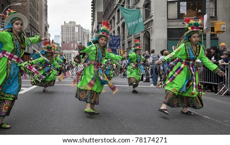 NEW YORK - MAY 21: Members of Ayazamana dances on Broadway as part of New York Dance Parade on May 21, 2011 in New York City