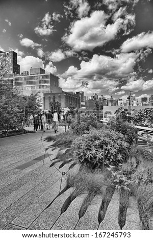 NEW YORK - MAY 12: Scenic views along the High Line on May 12 2013. The High Line is a popular linear park built on the elevated train tracks above Tenth Ave in New York City