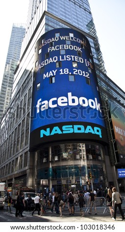 NEW YORK - MAY 18: Sign announcing Facebook IPO is flashed on a screen outside the NASDAQ stock exchange at the opening bell in Times Square on May 18, 2012 in New York City.