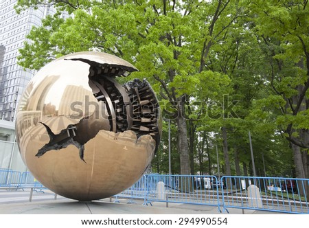 NEW YORK - May 27, 2015: Sphere Within Sphere (Sfera con sfera) is a bronze sculpture by Italian sculptor Arnaldo Pomodoro.