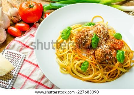 New York meatballs pasta, tomato sauce, all bio food from garden