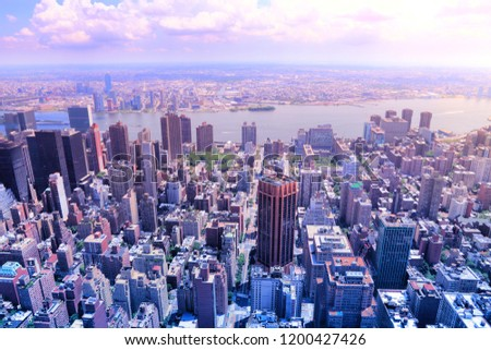 New York - Midtown Manhattan aerial view. Filtered color style. Stock fotó ©