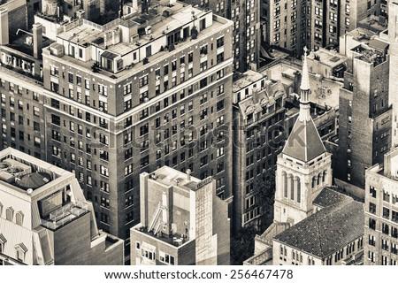 New York, Midtown Manhattan aerial view of old city buildings.