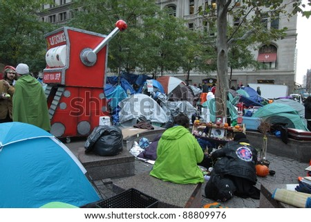 NEW YORK, N.Y. - OCTOBER 31 - Occupy Wall Street protesters' tent city at Zuccotti Park in the financial district, October 31, 2011, New York.