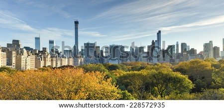 NEW YORK, NEW YORK - NOVEMBER 2, 2014: Aerial View of Central Park in the autumn, New York City.
