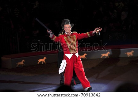 NEW YORK, NEW YORK - NOVEMBER 15: Clowns perform comedy routine during Big Apple Circus show.  Taken November 15, 2007 in New York City. - stock photo