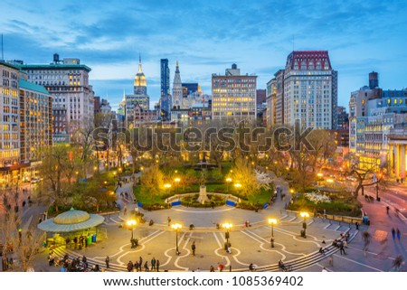 New York, New York, USA cityscape over Union Square in Lower Manhattan at twilight. #1085369402