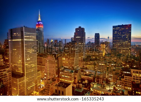 New York nighttime skyline and Empire State Building