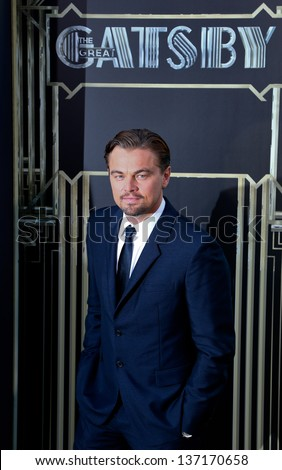 "NEW YORK-NOV 18: Actor Leonardo DiCaprio attends the premiere of ""The Great Gatsby"" at Avery Fisher Hall at Lincoln Center on May 1, 2013 in New York City. - stock photo"