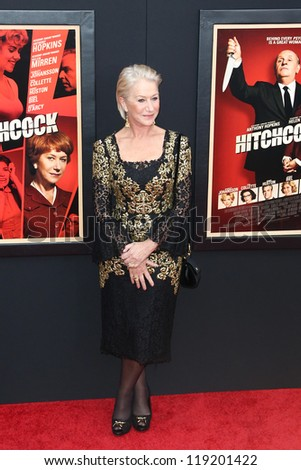 """NEW YORK-NOV 18: Actress Helen Mirren attends the premiere of """"Hitchcock"""" at the Ziegfeld Theatre on November 18, 2012 in New York City."""