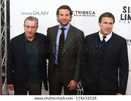 "NEW YORK-NOV 12: Robert DeNiro (L), Bradley Cooper and David O. Russell attend the premiere of ""Silver Linings Playbook"" at the Ziegfeld Theatre on November 12, 2012 in New York City."