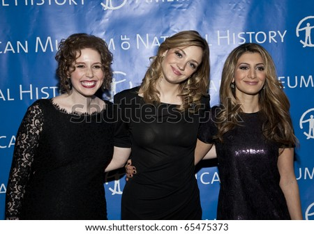 NEW YORK - NOVEMBER 18: Actors (L-R) Vanessa Bayer, Abby Elliott and Nasim Pedrad attend American Museum of Natural History Gala on November 18, 2010 in New York, City.