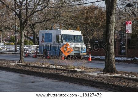 NEW YORK - NOVEMBER 8, 2012: Con Edison work to restore power to Manhattan Beach, Brooklyn, NY after Hurricane Sandy, November 2, 2012