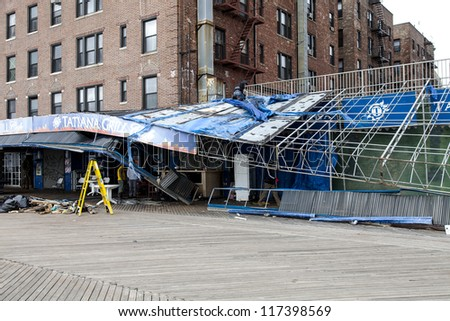NEW YORK - NOVEMBER 1, 2012: Damage done by hurricane Sandy to Restaurant Tatiana on Brighton Beach Boardwalk, Brooklyn, NY, November 1, 2012 - stock photo