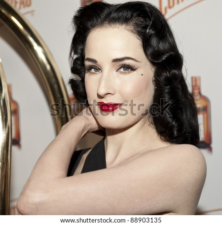 NEW YORK - NOVEMBER 15: DITA VON TEESE CELEBRATES U.S. LAUNCH OF HER NEW TRAVEL ACCESSORY MY COINTREAU TRAVEL ESSENTIALS AT FORTY FOUR|ROYALTON on November 15, 2011 in NYC