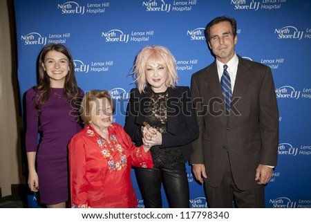 NEW YORK - NOVEMBER 5: Elle Winter, Dr. Ruth Westheimer, Cyndi Lauper, Bob Woodruff attend Lenox Hill hospital Autumn ball, award ceremony & fundraising to hurricane SAndy victims on Nov 5 2012 in NYC