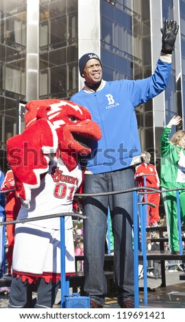 NEW YORK - NOVEMBER 22: Kareem Abdul-Jabbar rides the float at the 86th Annual Macy's Thanksgiving Day Parade on November 22, 2012 in New York City.