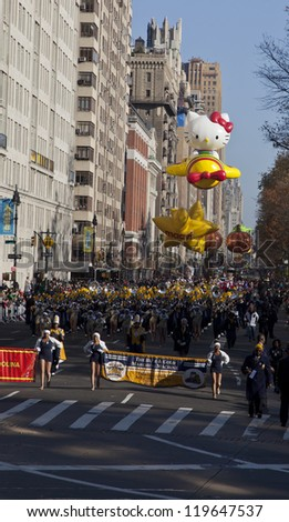 NEW YORK - NOVEMBER 22: Members of North Carolina A&T University attend the 86th Annual Macy's Thanksgiving Day Parade on November 22, 2012 in New York City.
