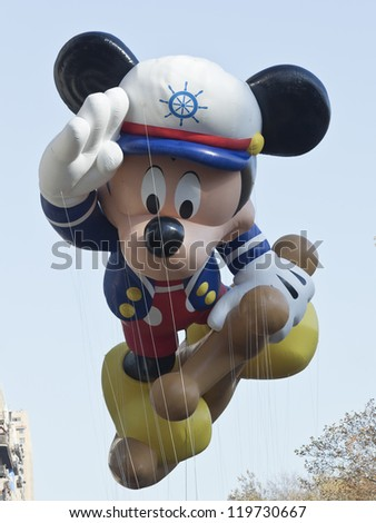NEW YORK - NOVEMBER 22: Sailor Mickey balloon is flown at the 86th Annual Macy's Thanksgiving Day Parade on November 22, 2012 in New York City.