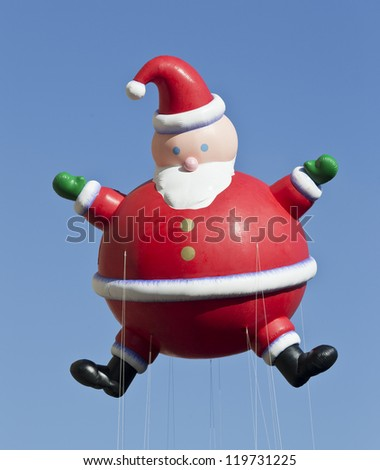 NEW YORK - NOVEMBER 22: Santa Claus balloon is flown at the 86th Annual Macy's Thanksgiving Day Parade on November 22, 2012 in New York City.
