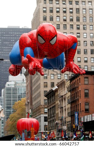 NEW YORK - NOVEMBER 25: The Spiderman float appears in the 84th Macy's Thanksgiving Day Parade on November 25, 2010 in New York City.
