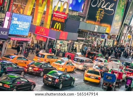 NEW YORK NOVEMBER 22 traffic jam congestion in front of Mc Donalds in Times Square on November 22 2013 in Manhattan New York Times Square is one of the world's most visited tourist attractions