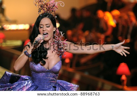 NEW YORK - NOVEMBER 10: Victoria's Secret Fashion Singer Katy Perry walks the runway during the 2010 Victoria's Secret Fashion Show on November 10, 2010 at the Lexington Armory in New York City.