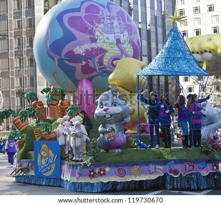 NEW YORK - NOVEMBER 22: Zhu Zhu Pets characters ride the float at the 86th Annual Macy's Thanksgiving Day Parade on November 22, 2012 in New York City.