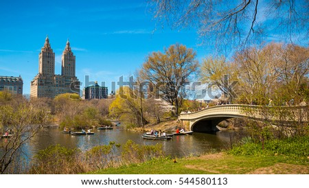 NEW YORK, NY - APRIL 16, 2016: Bow Bridge, Central Park on April 16, 2016 in Manhattan, New York City. - Shutterstock ID 544580113