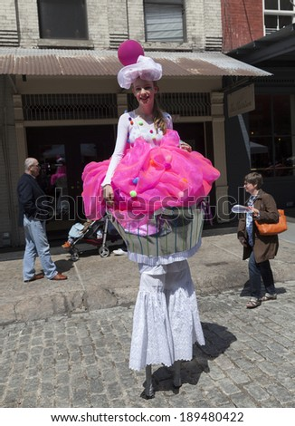 NEW YORK, NY - APRIL 26, 2014: Street performer at Family festival during the 2014 Tribeca Film festival on Greenwich street