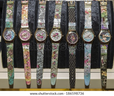NEW YORK, NY - APRIL 10, 2014: Watches designed by Michal Negrin on display at SOHO store opening for Michal Negrin