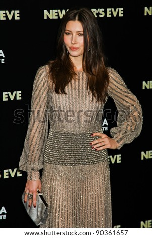 NEW YORK, NY - DECEMBER 07: Actress Jessica Biel  poses for a photo during the 'New Year's Eve' premiere at Ziegfeld Theatre on December 7, 2011 in New York City.