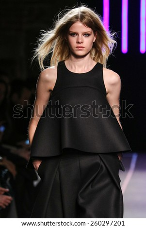 NEW YORK, NY - FEBRUARY 16: A model walks at the Milly By Michelle Smith Show during MBFW Fall 2015 at ArtBeam on February 16, 2015 in NYC.