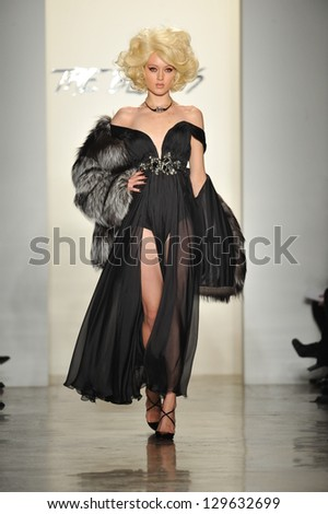 NEW YORK, NY - FEBRUARY 12: A model walks the runway at The Blonds fall 2013 fashion show during MADE Fashion Week at Milk Studios on February 12, 2013 in New York City.