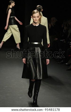 NEW YORK, NY - FEBRUARY 16: A model walks the runway at the Calvin Klein Fall 2012 fashion show during Mercedes-Benz Fashion Week  on February 13, 2012 in New York City.