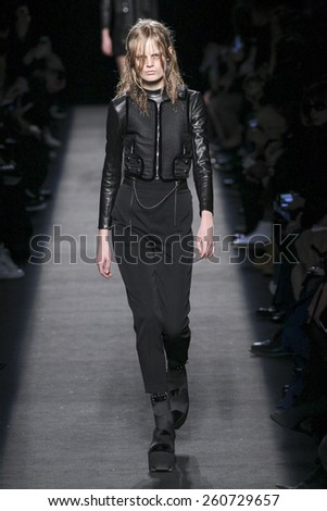NEW YORK, NY - FEBRUARY 14: A model walks the runway wearing Alexander Wang during MBFW in New York at Pier 94 on February 14, 2015 in NYC.