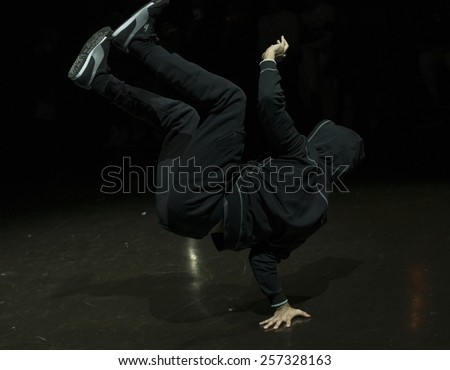 New York, NY - February 25, 2015: Dancer Junior Jiggz performs hip-hop dance at the Vashtie x Puma Fashion Show And Launch Party at Webster Hall