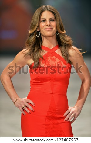 NEW YORK, NY - FEBRUARY 06: Jillian Michaels wearing Cushnie et Ochs walks the runway at The Heart Truth's Red Dress Collection during Fall 2013 Mercedes-Benz Fashion Week on February 6, 2013, NYC.
