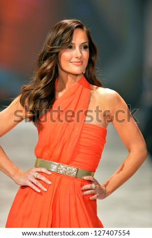 NEW YORK, NY - FEBRUARY 06: Minka Kelly wearing Oscar de la Renta walks the runway at The Heart Truth's Red Dress Collection during Fall 2013 Mercedes-Benz Fashion Week on February 6, 2013, NYC.