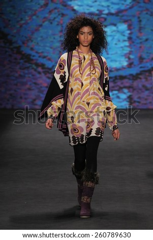 NEW YORK, NY - FEBRUARY 18: Model Imaan Hammam walks the runway at the Anna Sui fashion show during MBFW Fall 2015 at Lincoln Center on February 18, 2015 in NYC