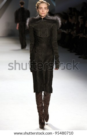 NEW YORK, NY - FEBRUARY 14: Model Janice Alida walks the runway at the Vera Wang Fall 2012 fashion show during Mercedes-Benz Fashion Week at Lincoln Center on February 14, 2012 in New York City.
