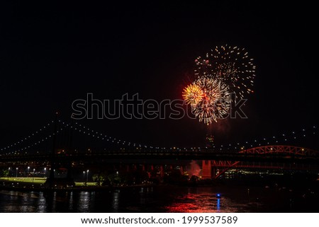 NEW YORK, NY – JUNE 29: The annual Astoria fireworks show ahead of the July 4 holiday light up above the Robert F. Kennedy Bridge (formally Triborough Bridge) on June, 29, 2021 in New York City. Stock fotó ©
