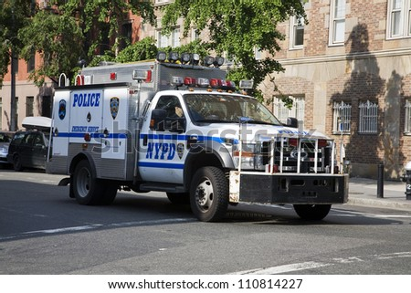 NEW YORK, NY - MAY 31: NYPD police truck patrolling the streets in New York City on May 31, 2011.  The NYPD is one of the oldest police departments in the US established in 1845.
