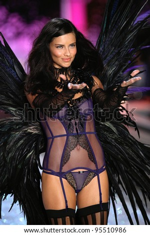 NEW YORK, NY - NOVEMBER 09: Model Anne V walks the runway during the 2011 Victoria's Secret Fashion Show at the Lexington Avenue Armory on November 9, 2011 in New York City.