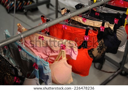 NEW YORK, NY - OCTOBER 25: Lingerie samples on hangers during Fruit & Loom Spring 2015 lingerie showcase presentation at the Center 548 on October 25, 2014 in New York City.