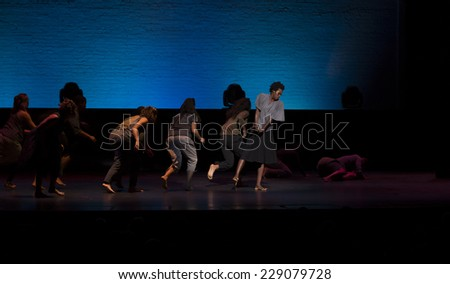 New York, NY - October 20, 2014: Members of Urban Bush Women dance group perform on stage Shelter by Jawole Willa Jo Zollar during the 2014 Bessies Awards at The Apollo Theater