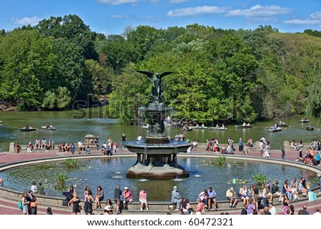 NEW YORK, NY - SEPTEMBER 5: A beautiful summer day at the Angel of the Waters statue at Bethesda Terrace on September 5, 2010 in New York City's Central Park.